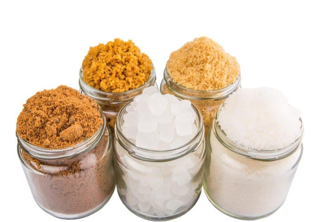 Brown sugar, muscovado sugar, white refine sugar, coconut sugar